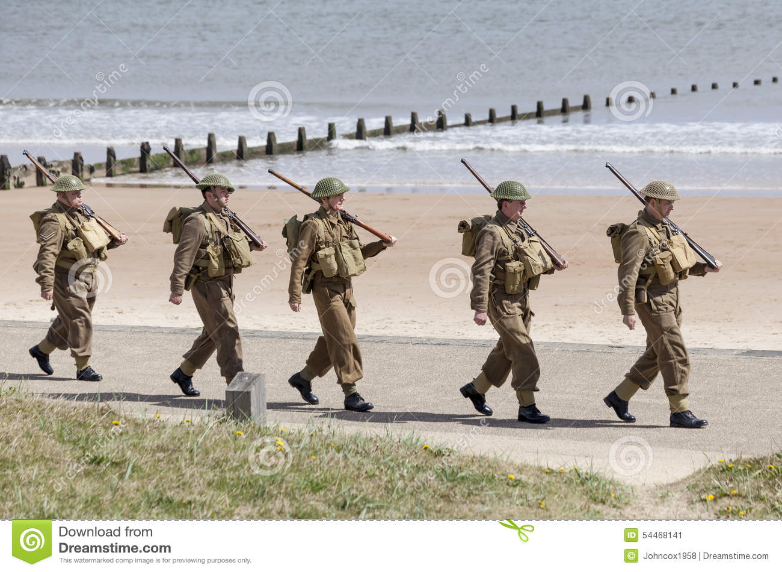 Reenactment Of World War 2 Battle  Blyth, Northumberland