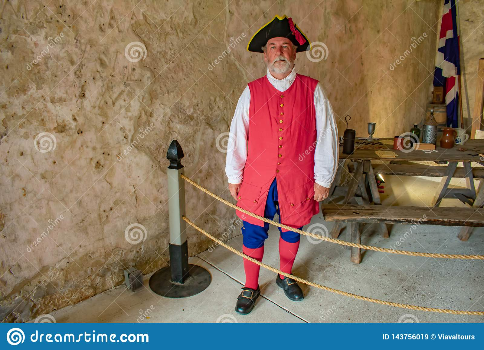 Reenactor dressed as a Spanish soldier of the seventeenth century in Florida`s Historic Coast.