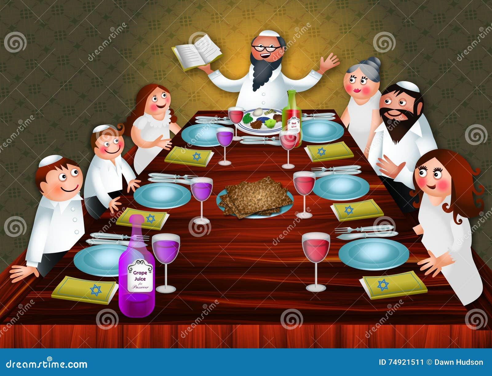 Refeicao Da Familia Da Pascoa Judaica Ilustracao Stock Ilustracao De Familia Judaica 74921511