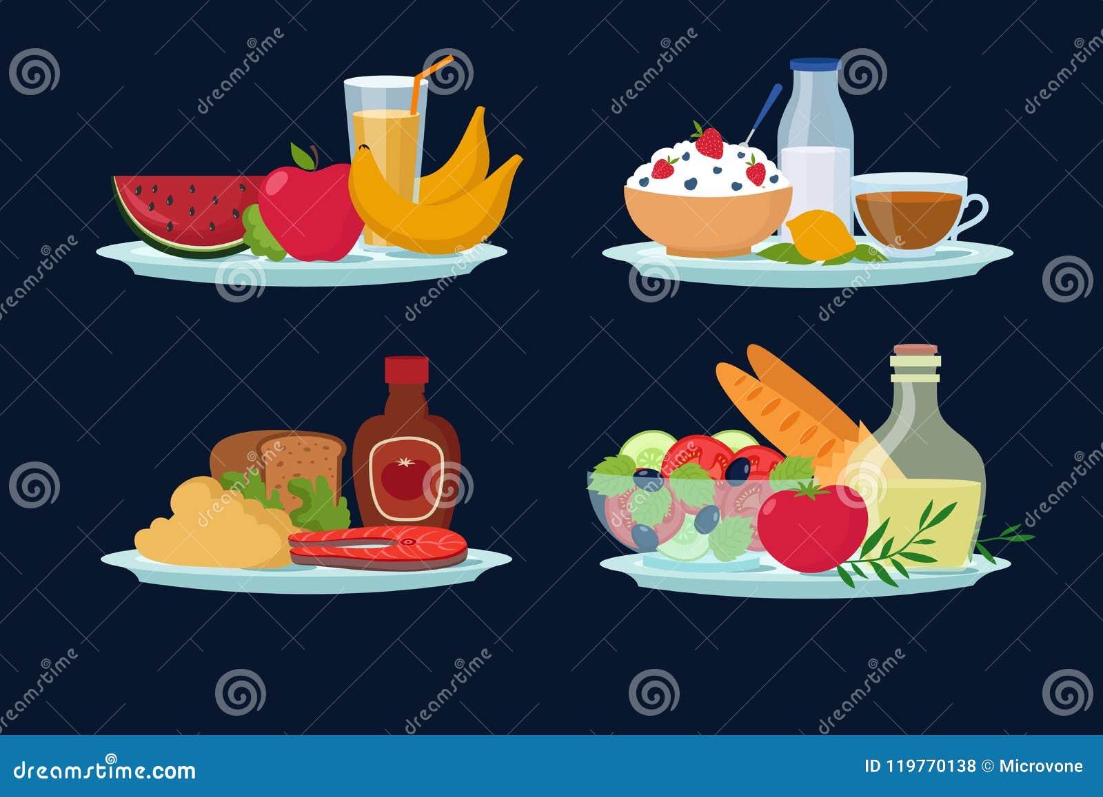 Refeições diárias da dieta, alimento saudável para o café da manhã, almoço, ícones do vetor dos desenhos animados do jantar