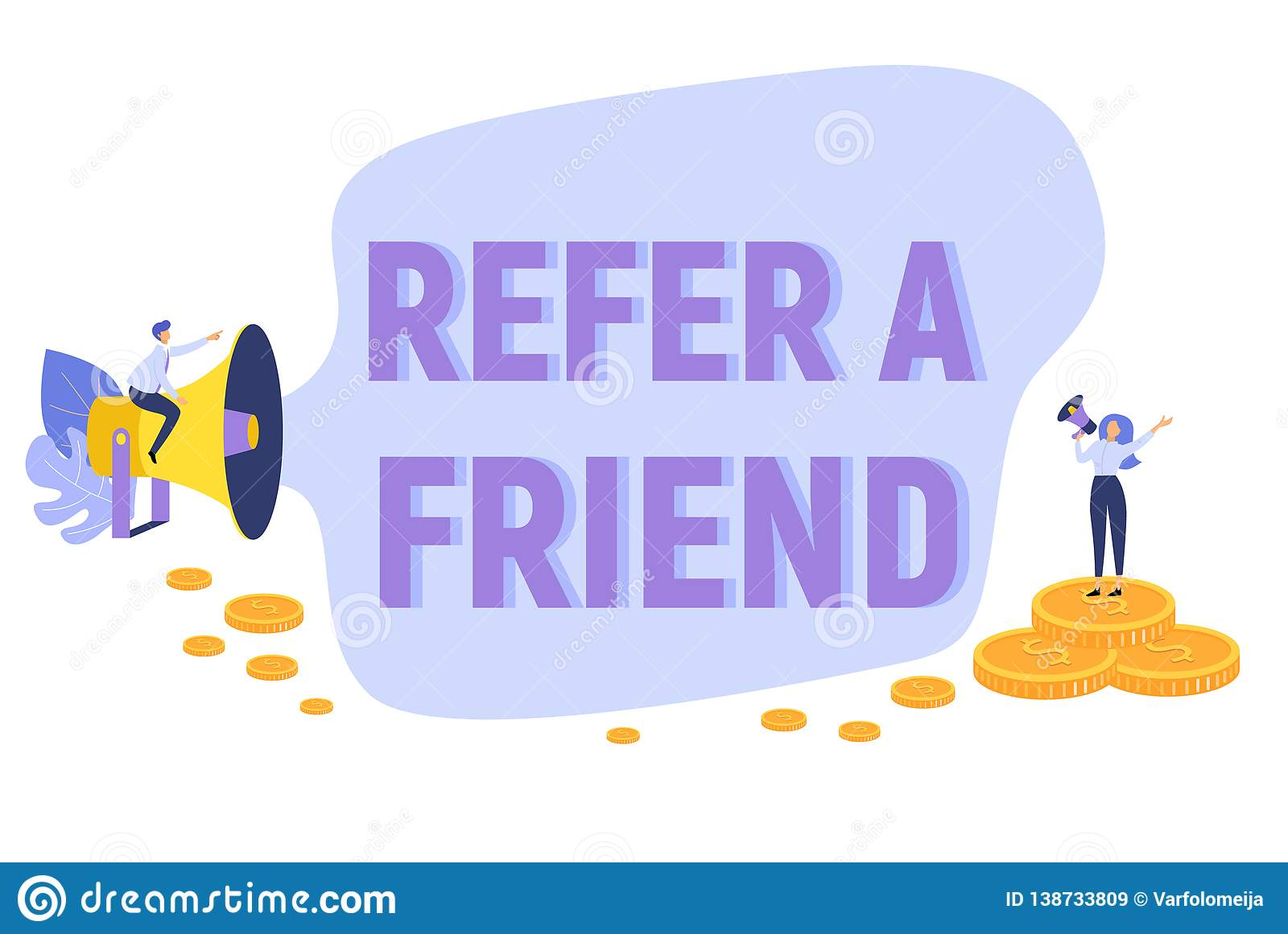 Refer A Friend Text Concept Background With People Shouting In