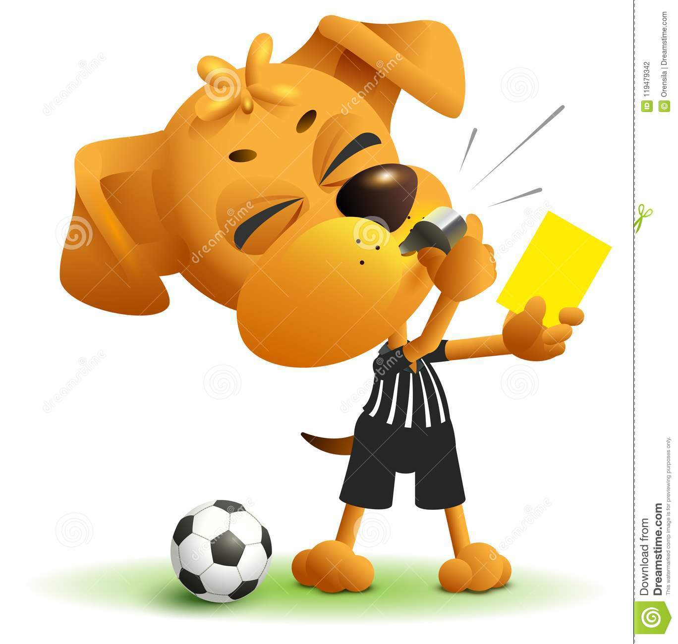 Referee dog shows yellow card. Violation of rules when playing soccer
