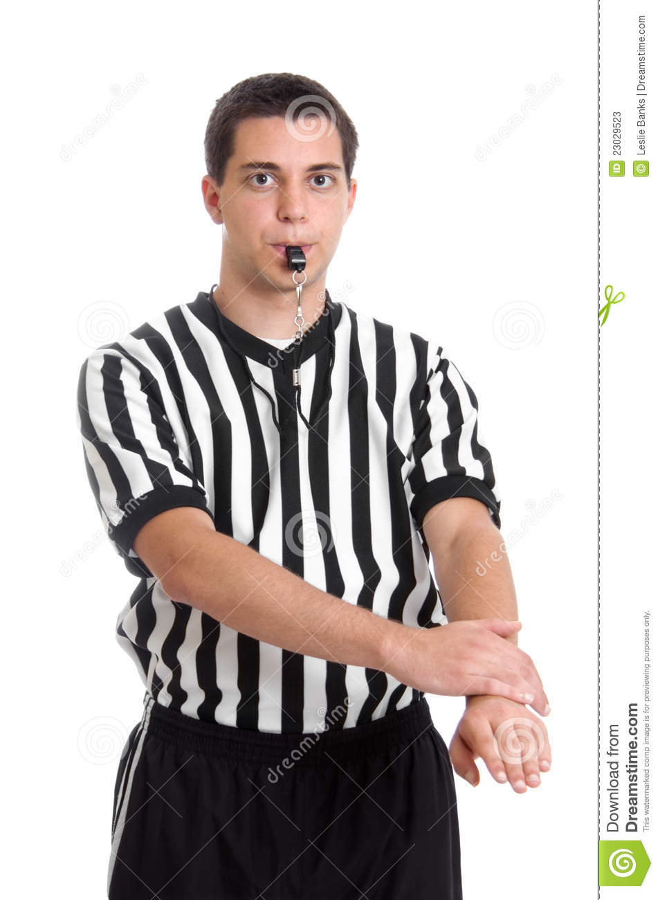 Referee giving defensive foul sign