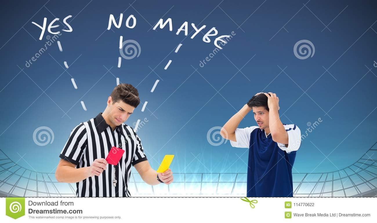 Referee giving player red or yellow card for foul and Yes No Maybe text with arrows graphic