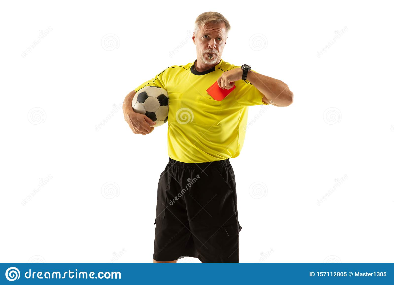 football referee showing a red card to a displeased player