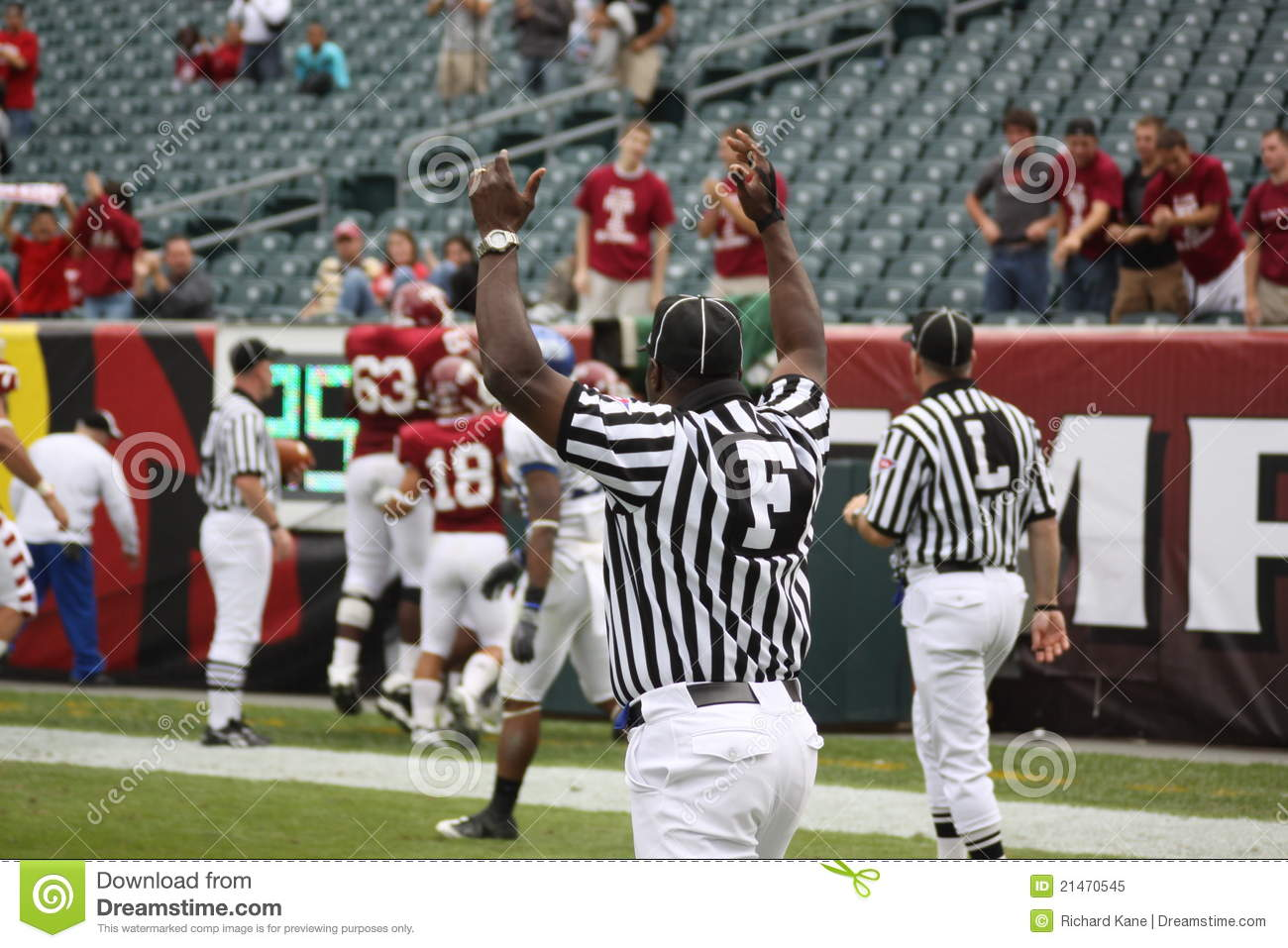 Referee football official signals a touchdown stock photo image - Football Referee Signals Touchdown Www Imgkid Com The
