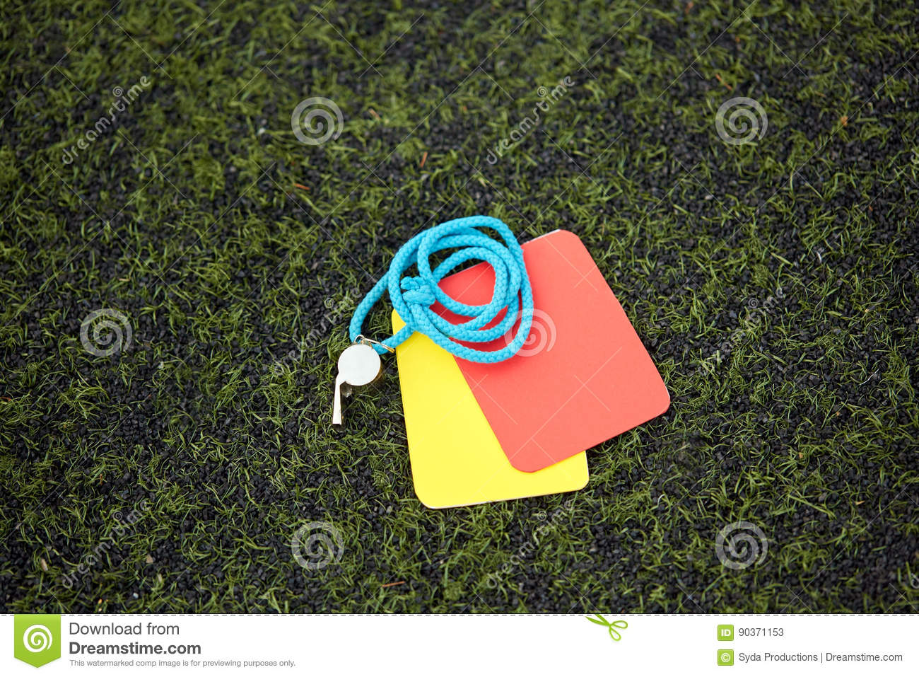 Referee Whistle And Caution Cards On Soccer Field Stock ...