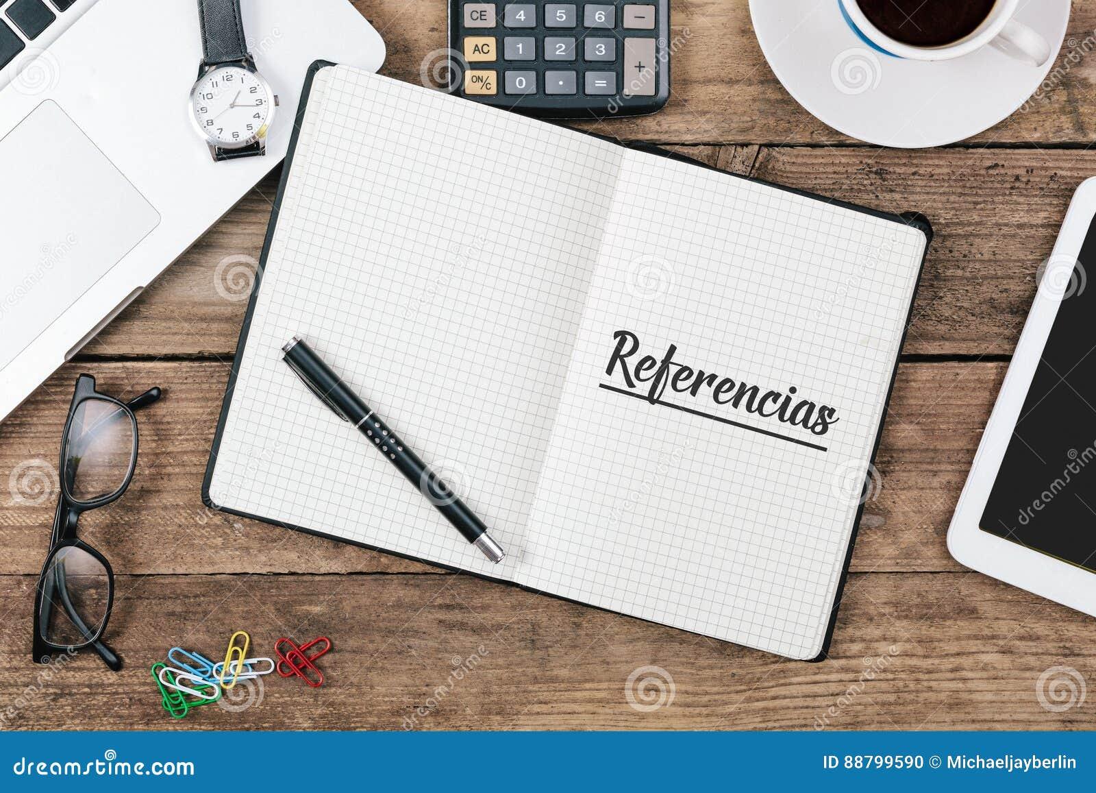 Referencias texte espagnol pour des références dans le carnet sur