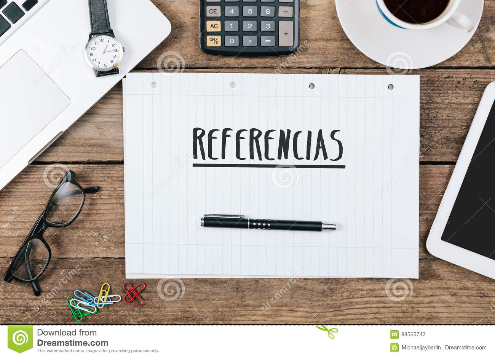 Referencias texte espagnol pour des références sur le bloc notes
