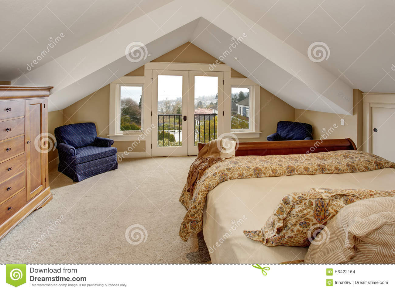 Download Refined Master Bedroom With Carpet And Balcony. Stock Photo    Image Of Furnished,