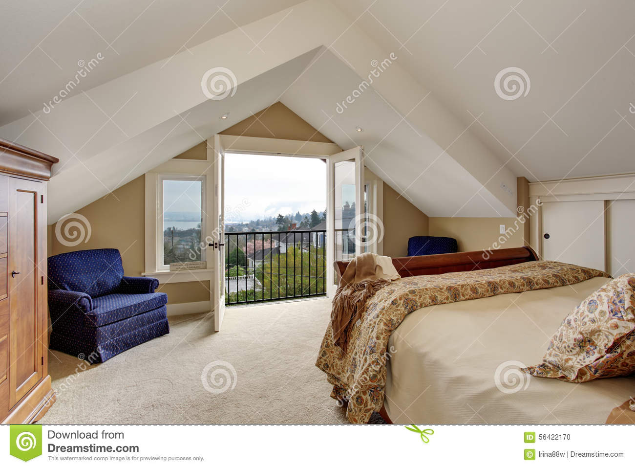 Refined Master Bedroom With Carpet And Balcony. Stock Photo ...