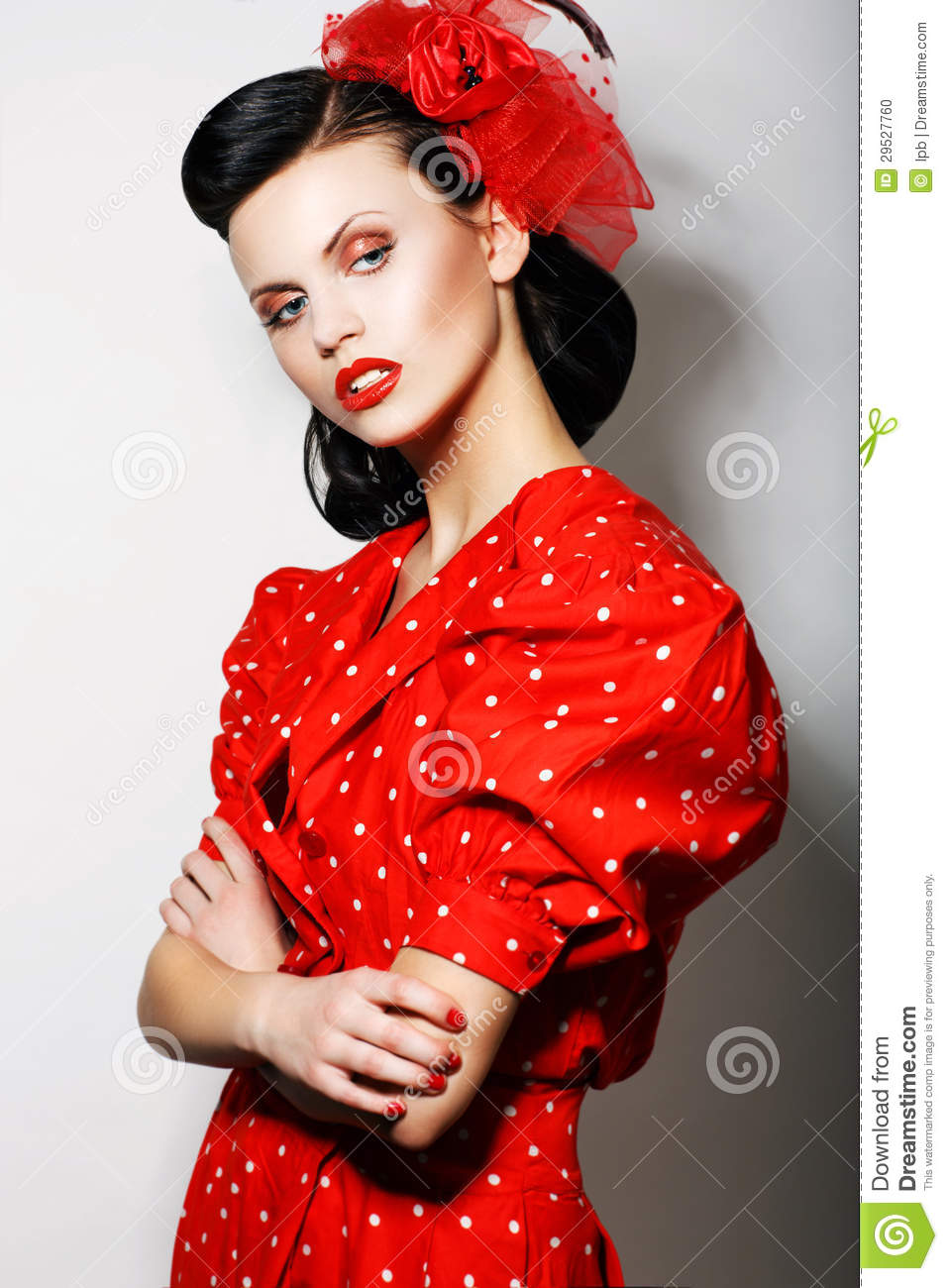 Refinement. Sophisticated Arrogant Woman in Red Polka Dot Dress with ...