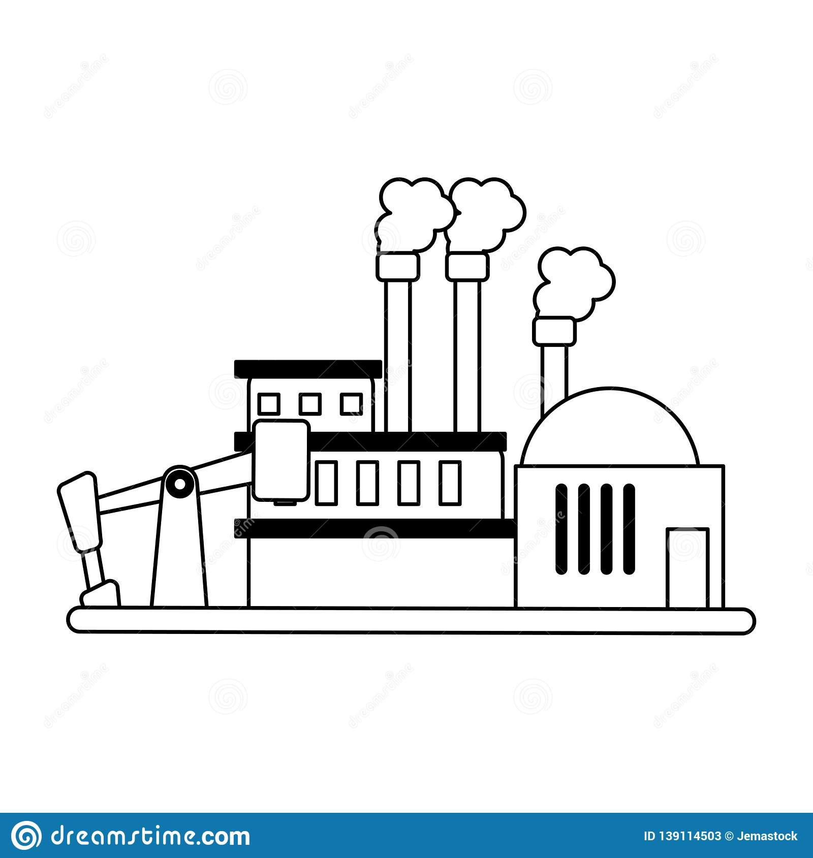 Refinery Industry Plant Black And White Stock Vector