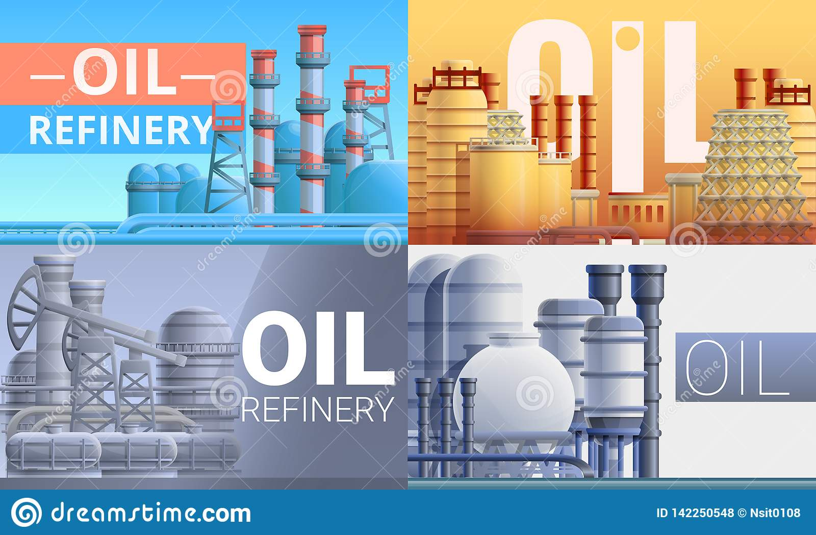 Refinery plant banner set, cartoon style