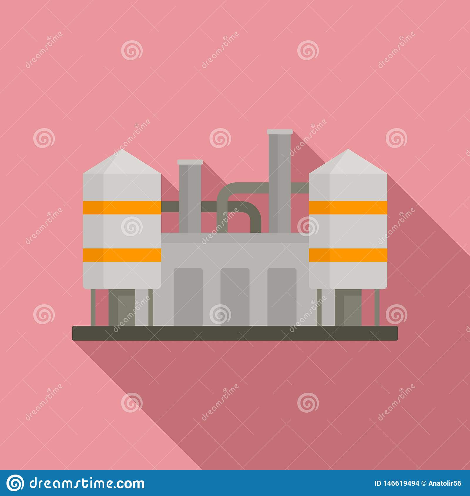 Refinery Plant Icon, Flat Style Stock Vector