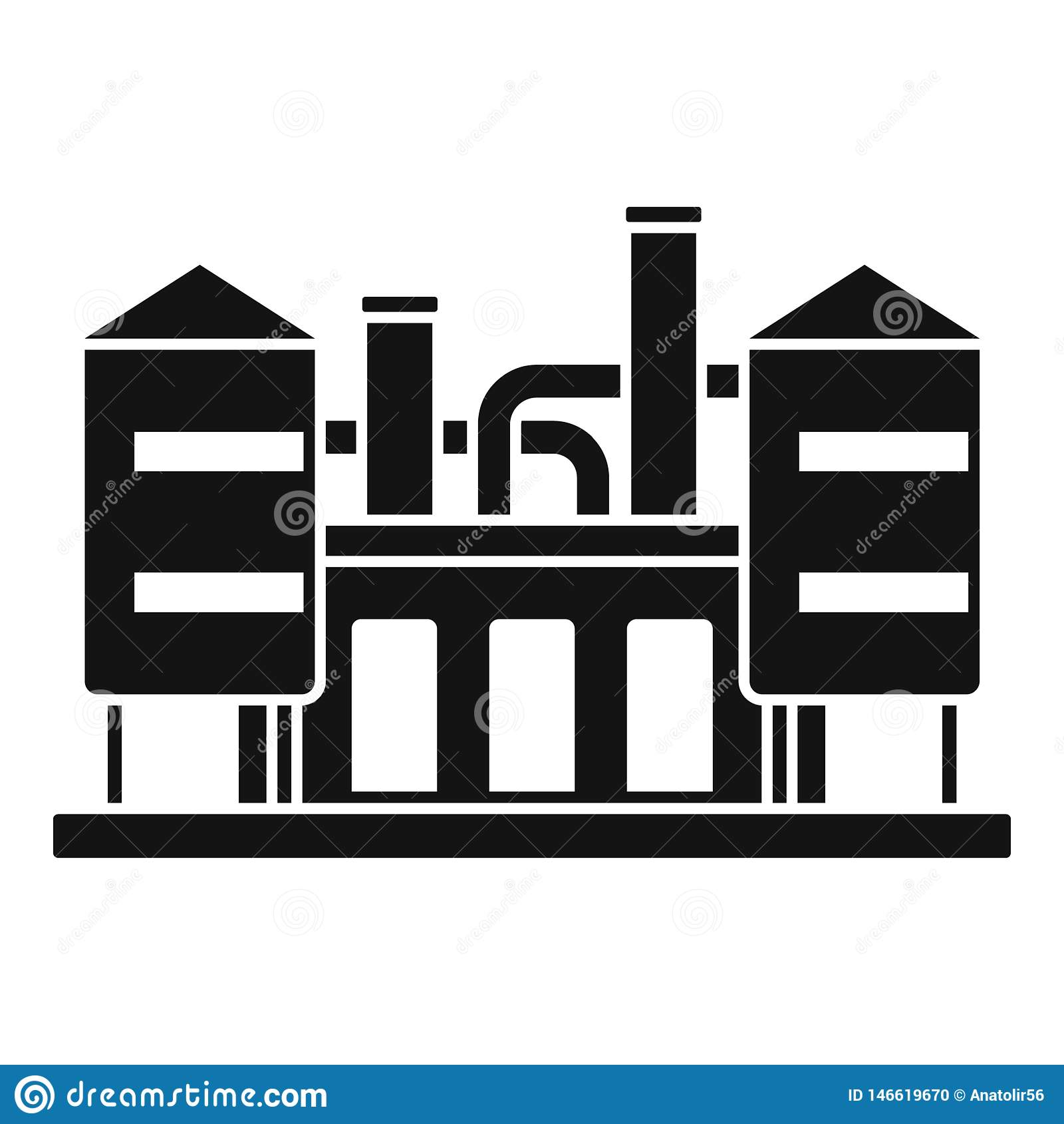 Refinery Plant Icon, Simple Style Stock Vector