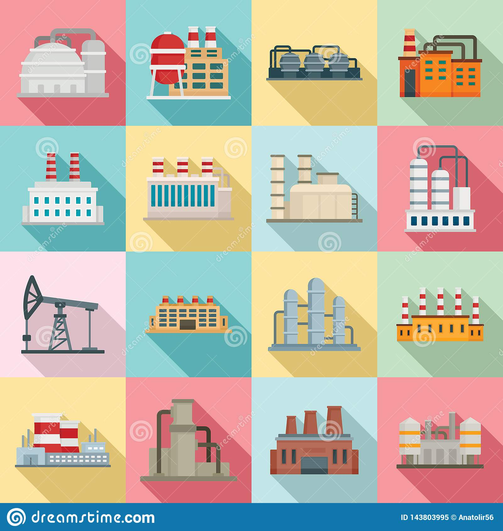 Refinery Plant Icons Set, Flat Style Stock Vector