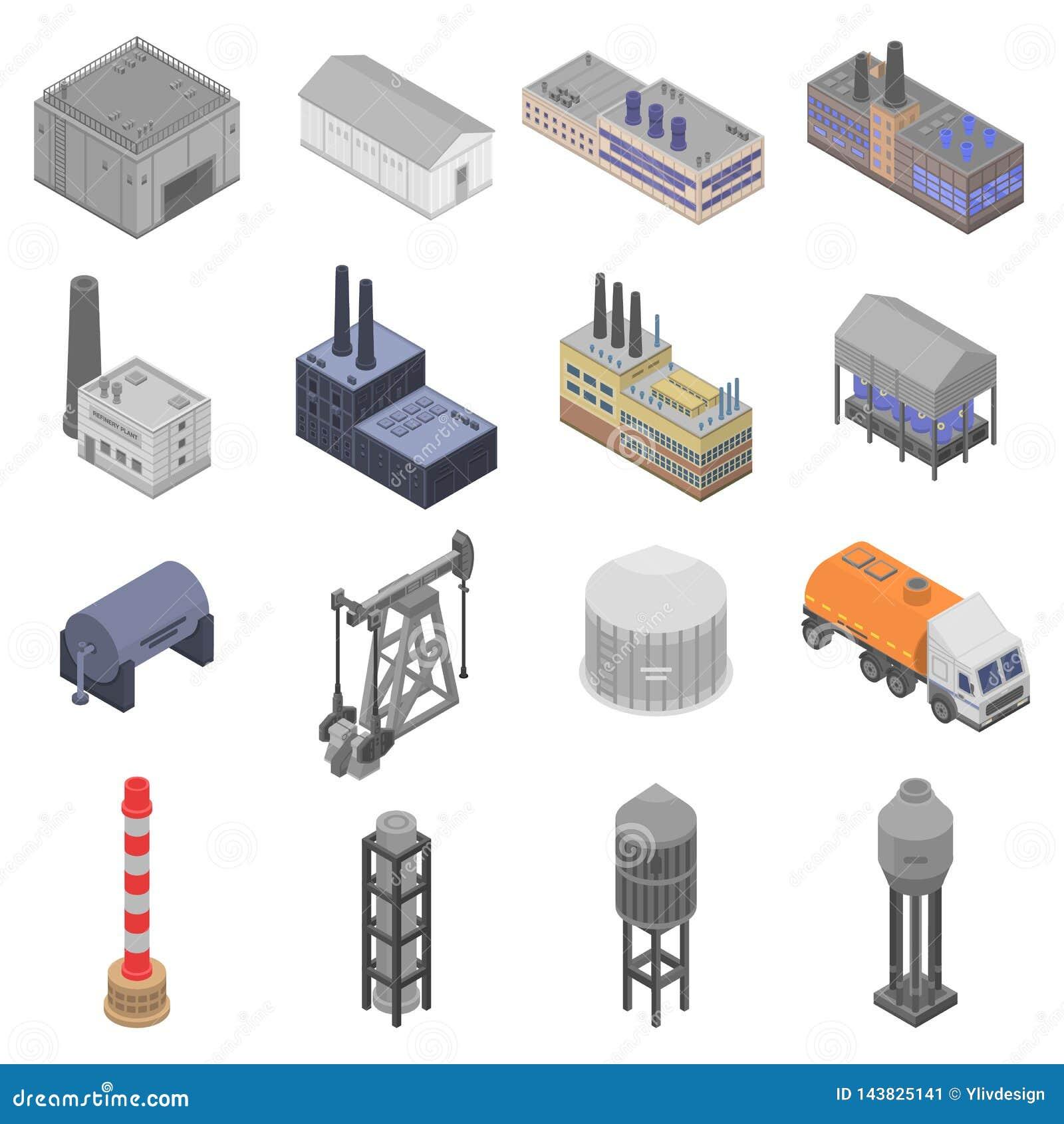 Refinery Plant Icons Set, Isometric Style Stock Vector
