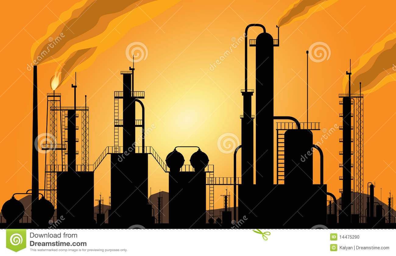 Oil Refinery industrial silhouette