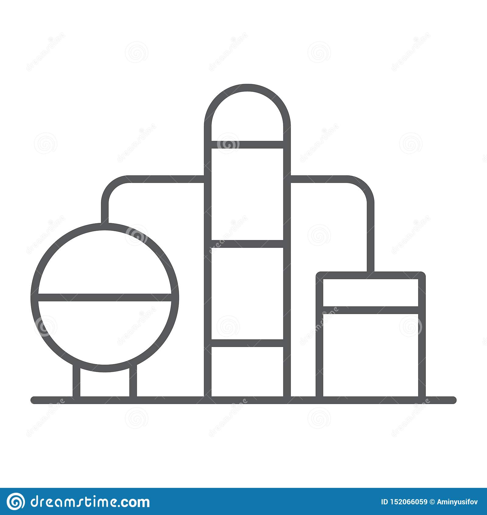Refinery thin line icon, fuel and plant, oil factory sign, vector graphics, a linear pattern on a white background.