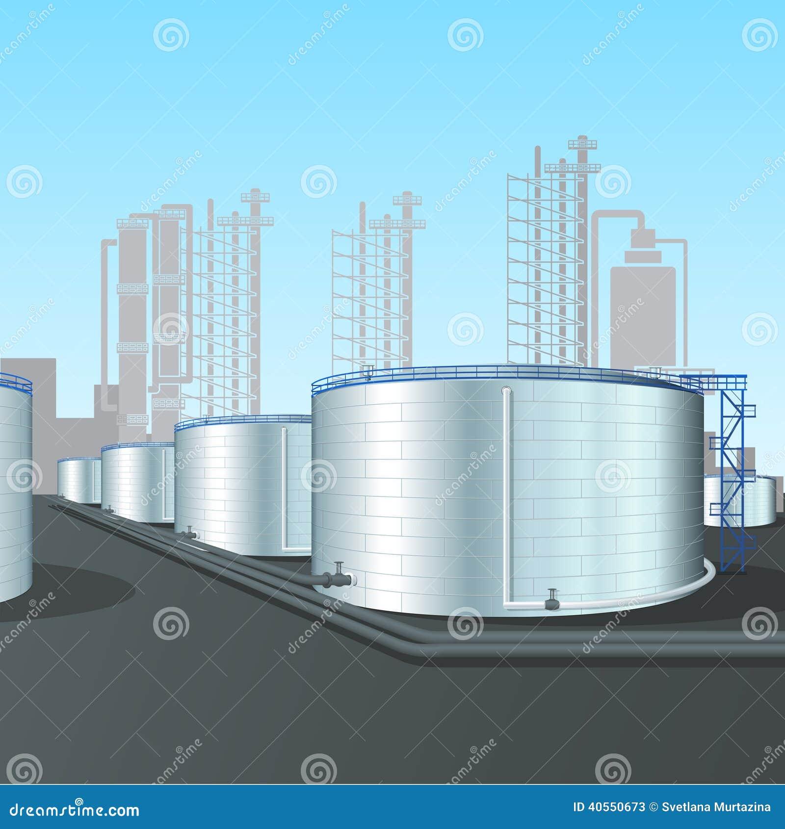 Refinery Vertical Steel Tank Farm With Pipeline Stock
