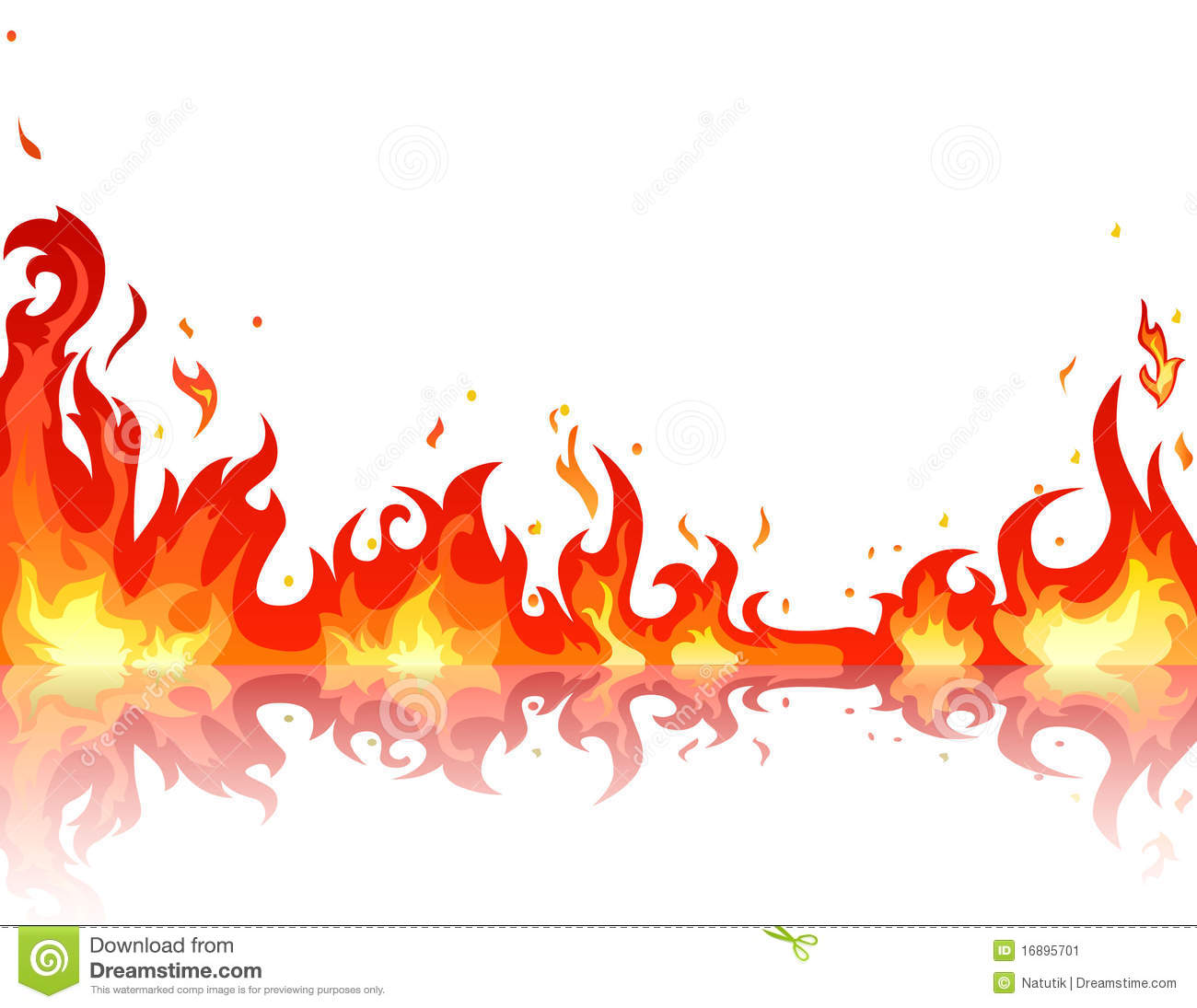 Reflected fire flame