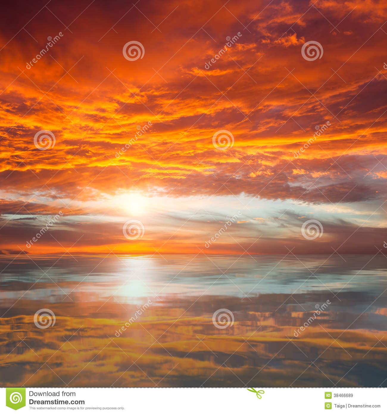 Download Reflection Of Beautiful Sunset /  Majestic Clouds And Sun Above Stock Image - Image of panorama, landscape: 38466689
