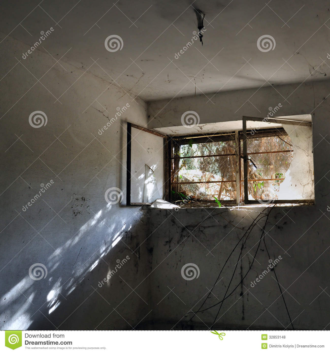 Reflection In Dark Room Stock Photo. Image Of Dilapidated