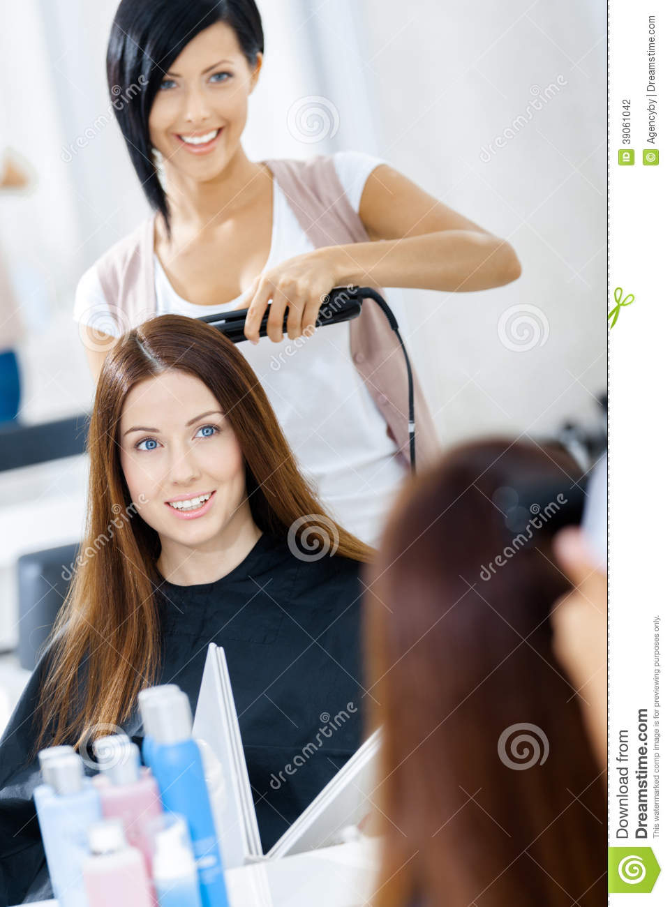 Reflection Of Hair Stylist Doing Haircut For Woman Stock Photo Image 39061042