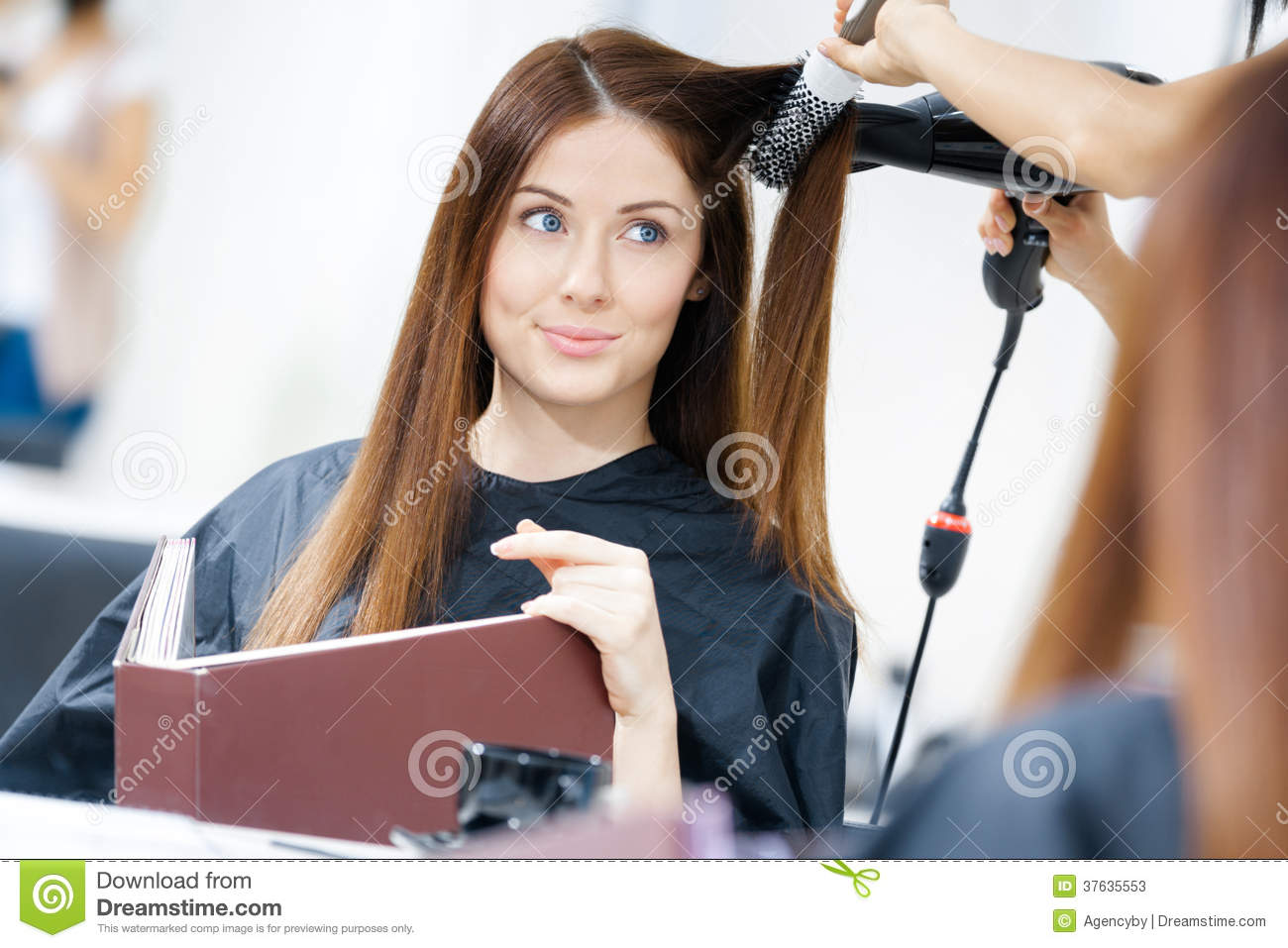 Reflection Of Hairdresser Doing Hairdo For Woman Stock Photos Image 37635553