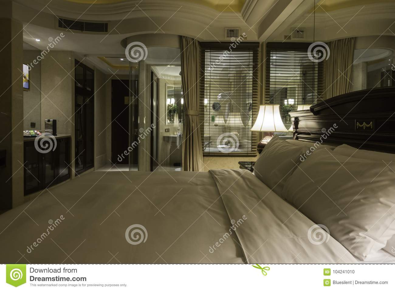 Reflection Of Interior Of A Hotel Room Stock Photo Image