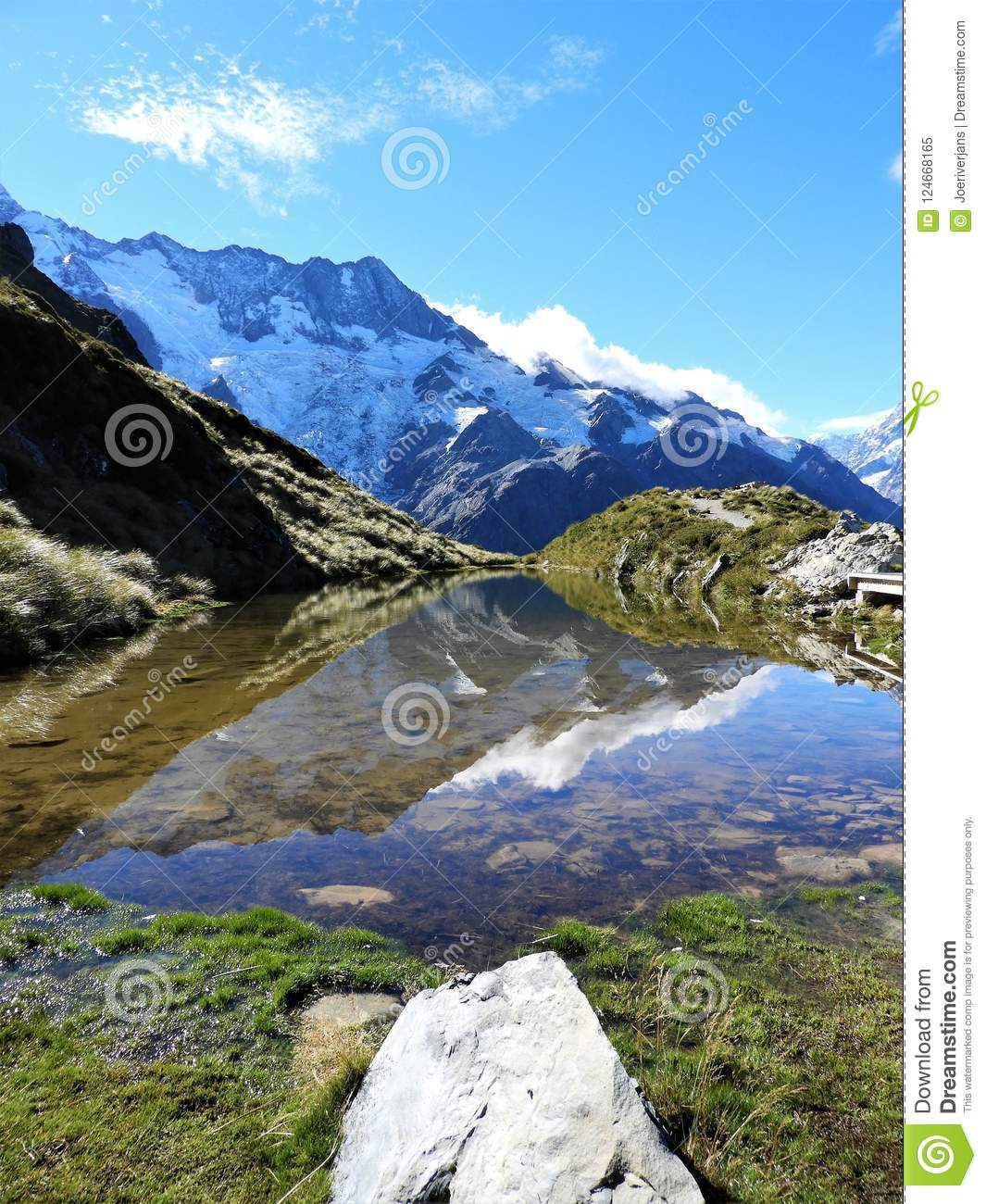 Reflection Lake Sealy Tarn on the Mueller Hut Route, Mount Cook National Park