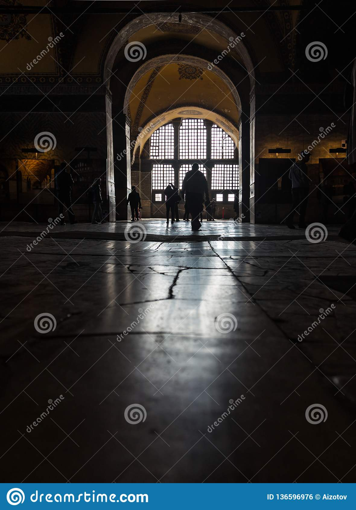 Reflection of light from the window of the floor in the temple of Aya Sofia in Istanbul, Turkey