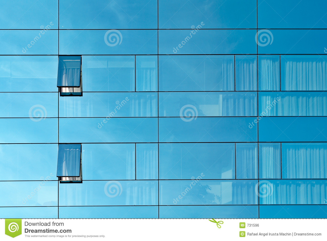 Reflection In An Office Building Glass Wall Royalty Free ...