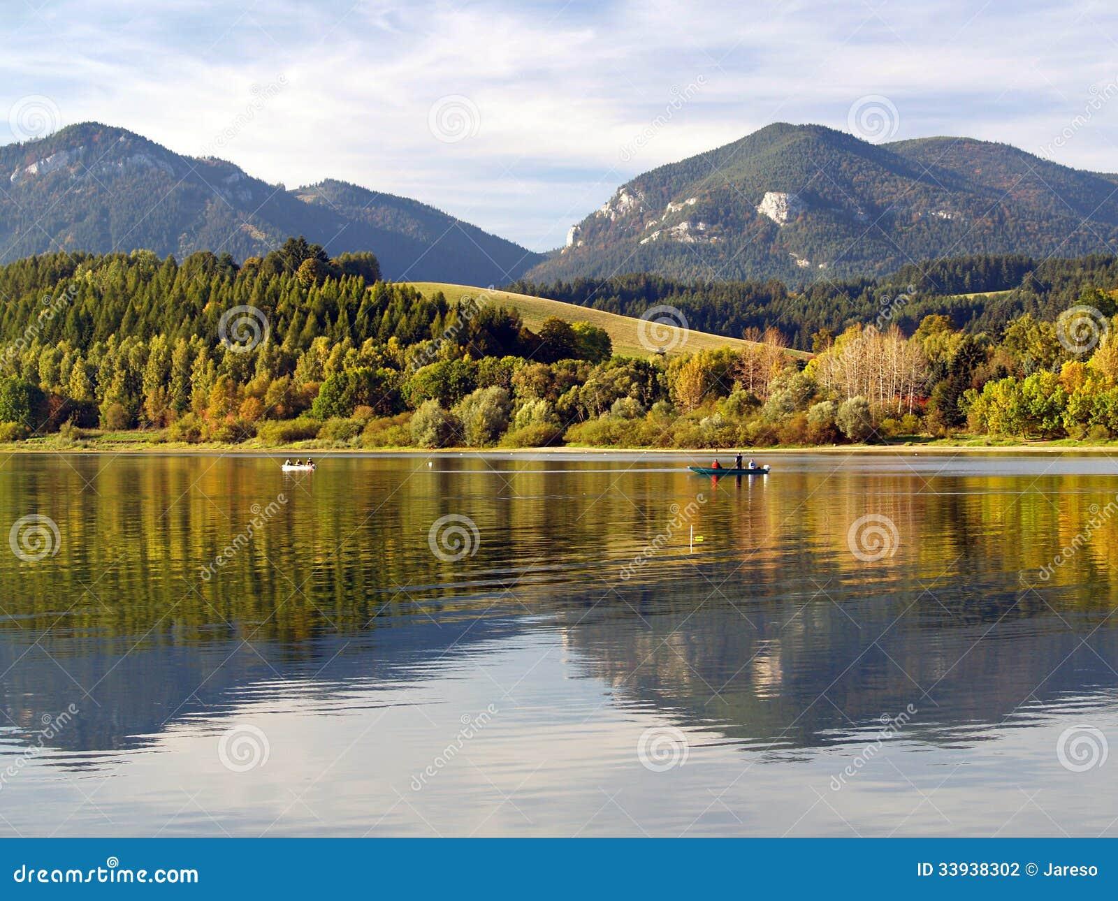 Reflection of Pravnac and Lomy hills, Slovakia