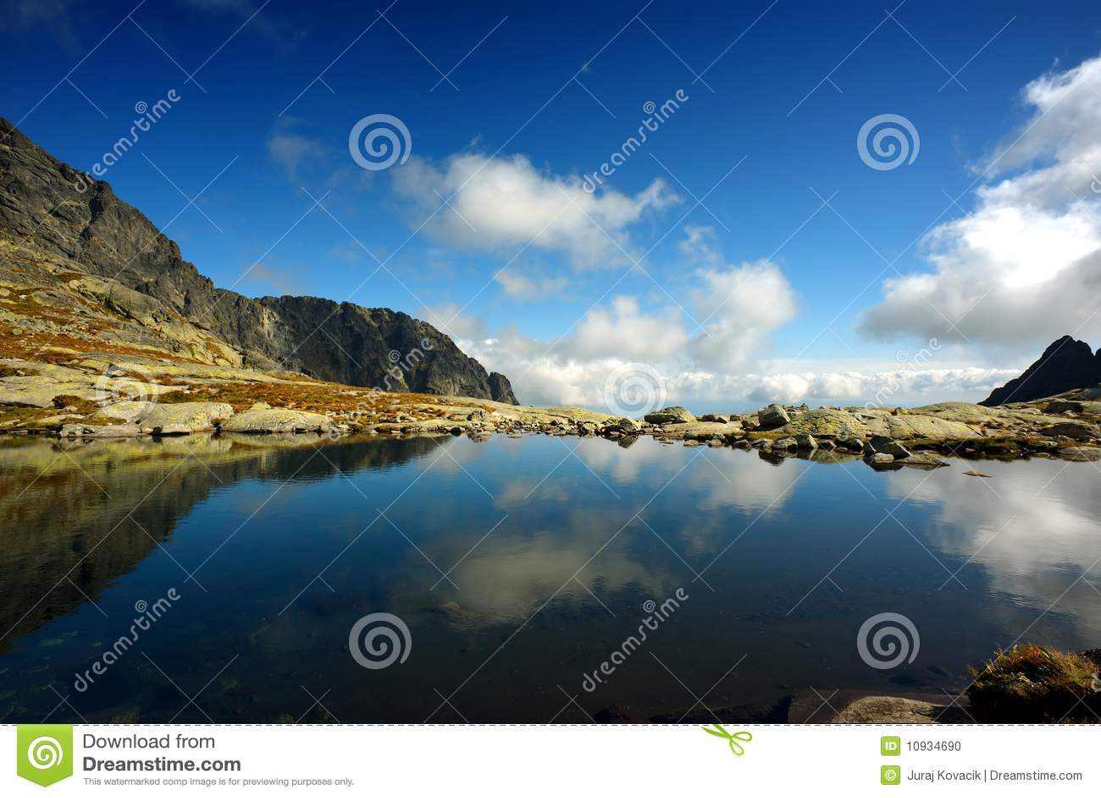 sky blue mountain reflection - photo #13
