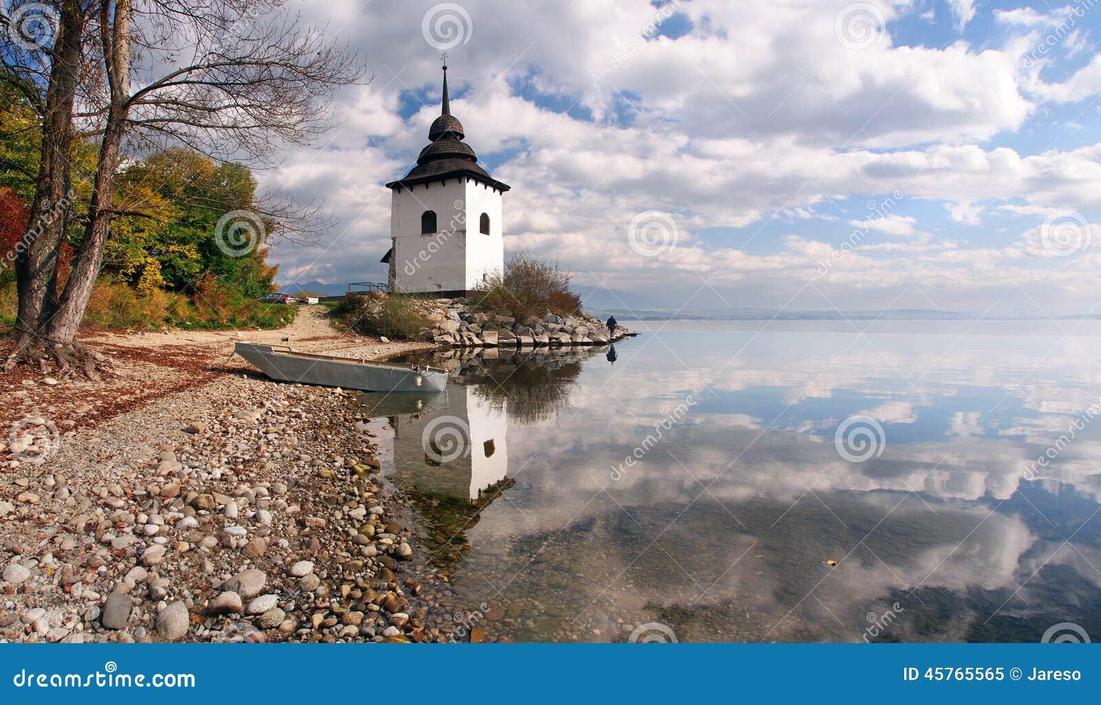 Reflection of tower at Liptovska Mara, Slovakia