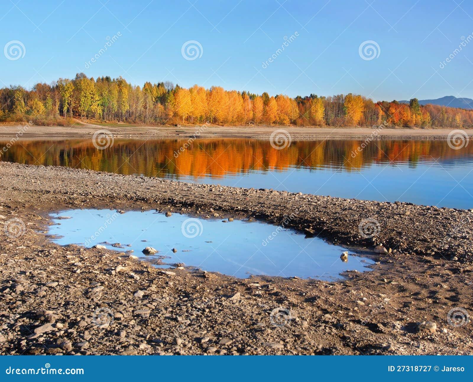 Reflection of trees in Liptovska Mara at autumn