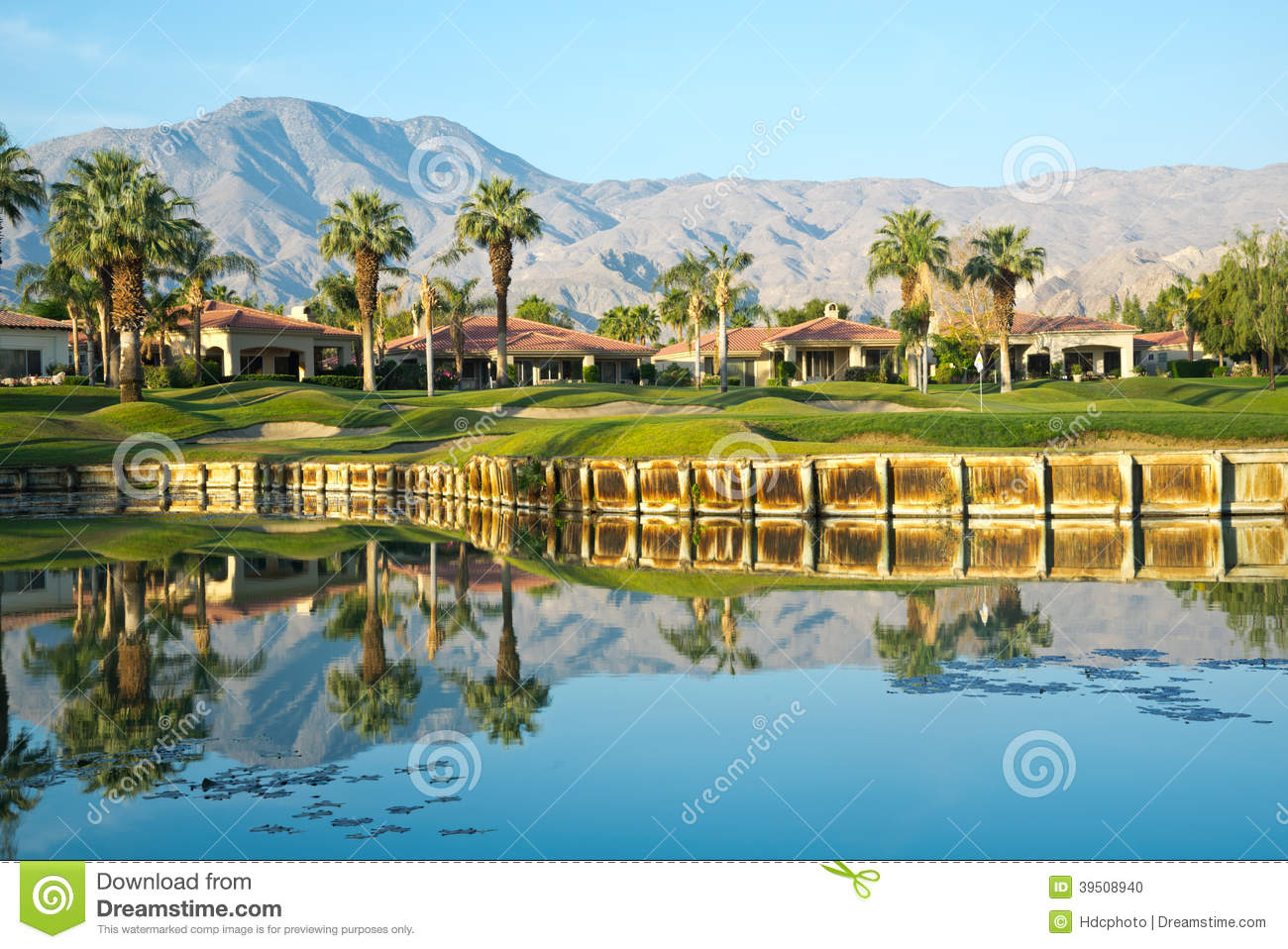 Reflection of Trees and Mountains at Golf Course