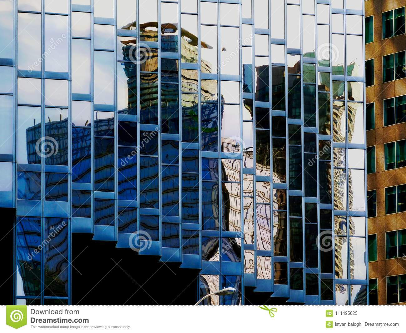 Architectural Abstract of Glass Office Tower Downtown