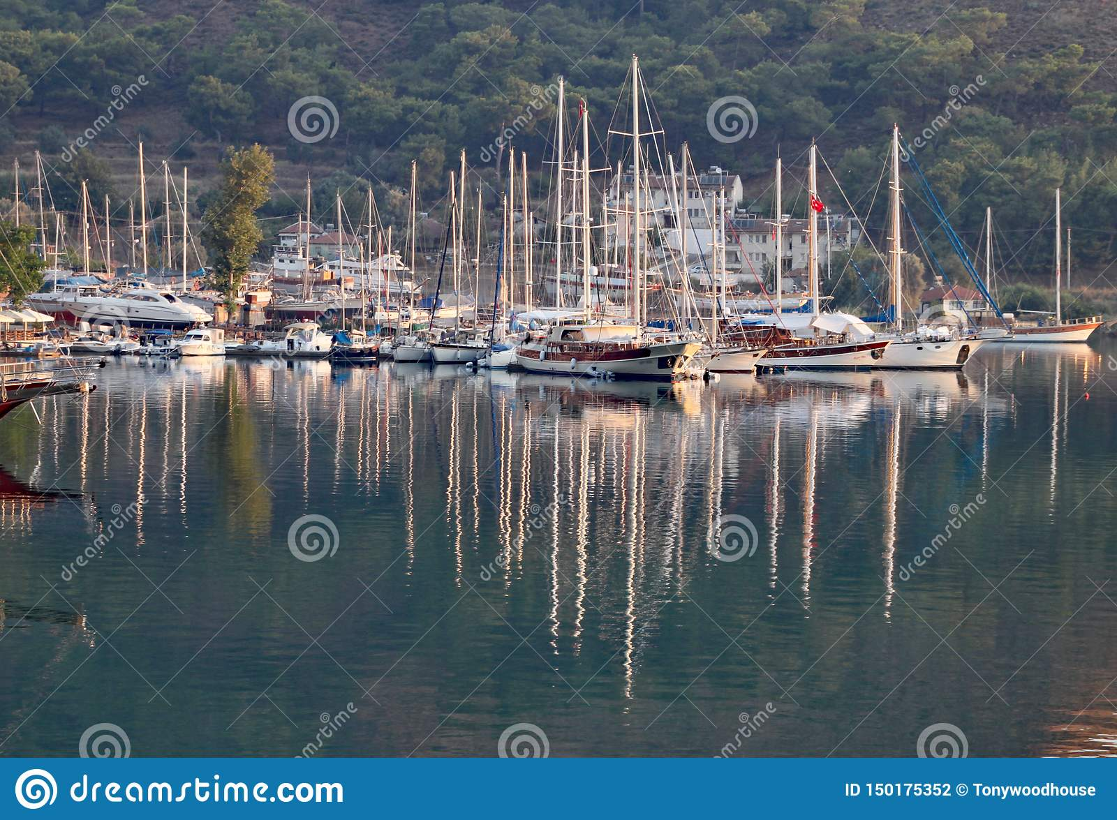 Reflections of yachts at Marmaris on a beautiful summer evening