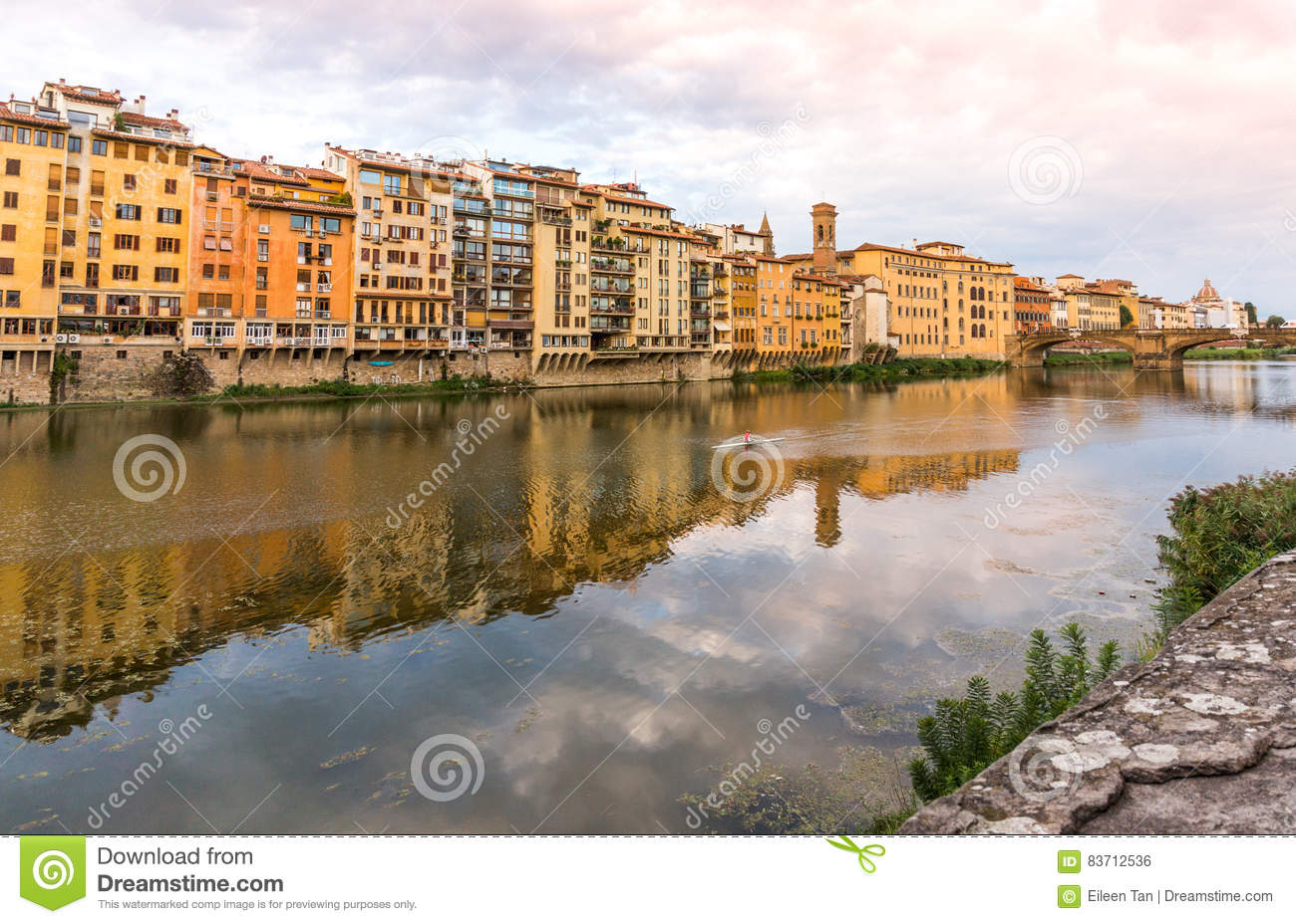 Reflecton In Arno River Florence, Italy Stock Photo
