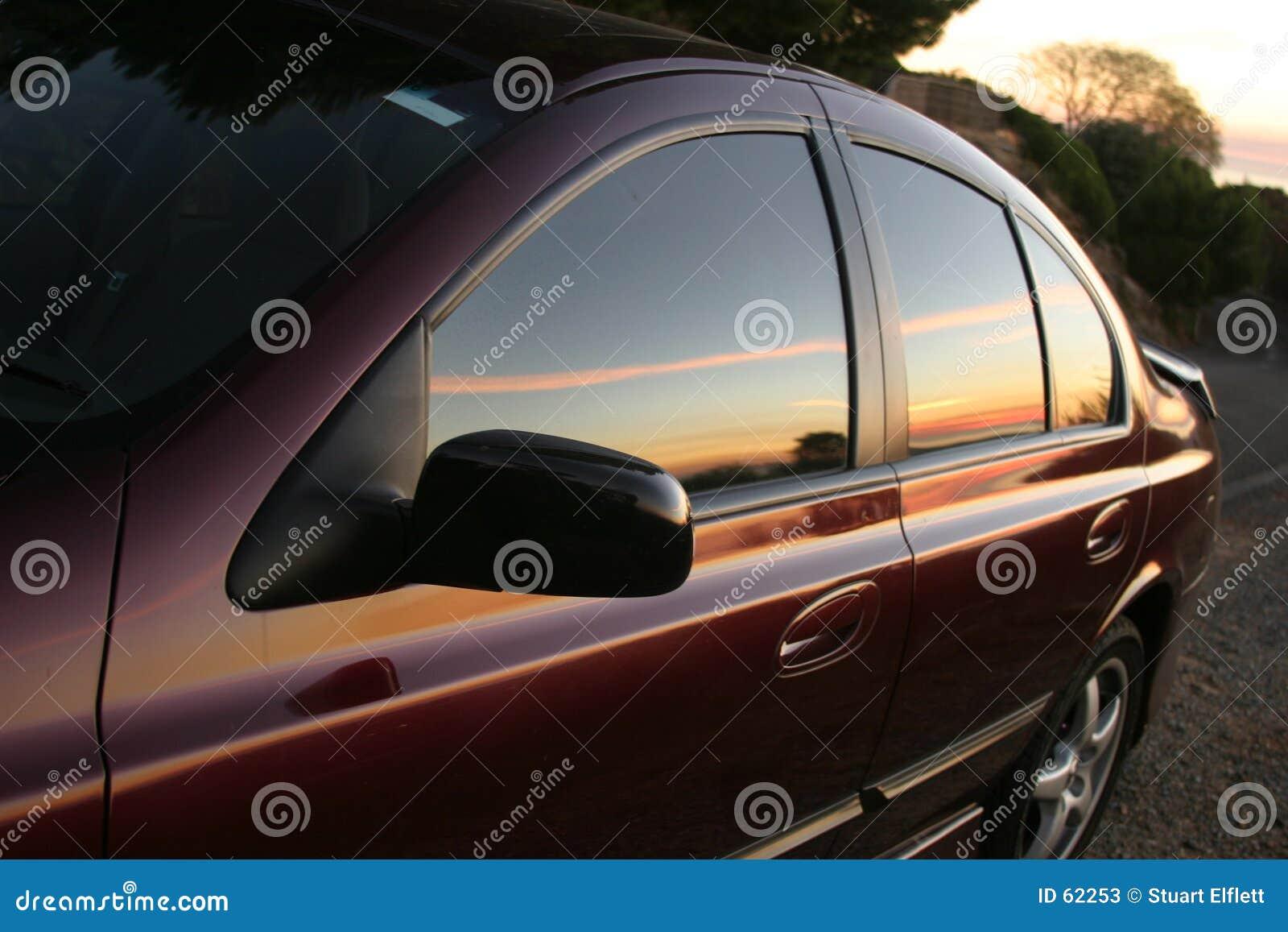 Reflekterande solnedgång
