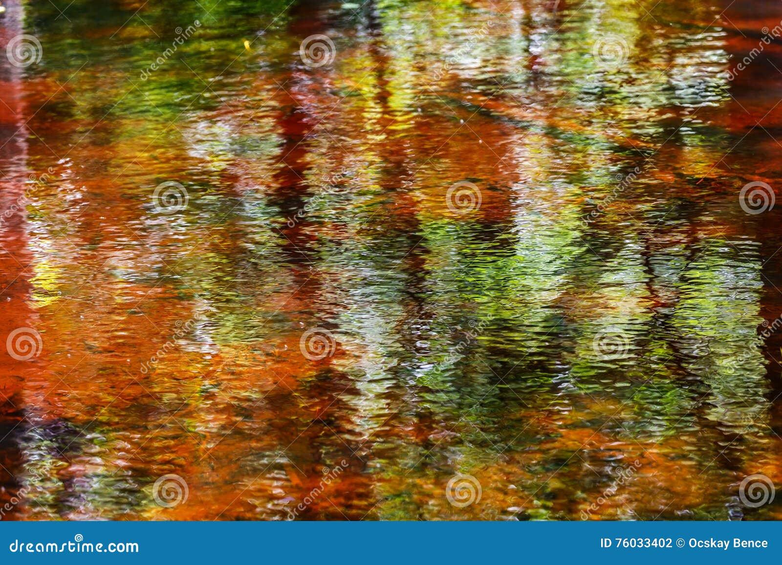 Reflexão abstrata colorida bonita da água