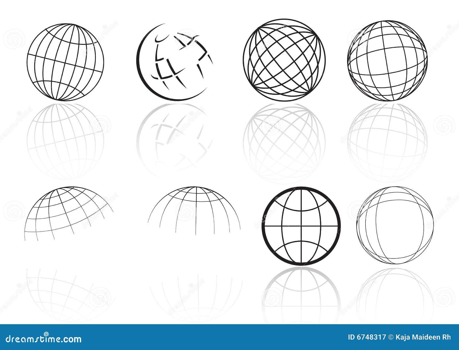 Reflexão da grade do globo - vetor