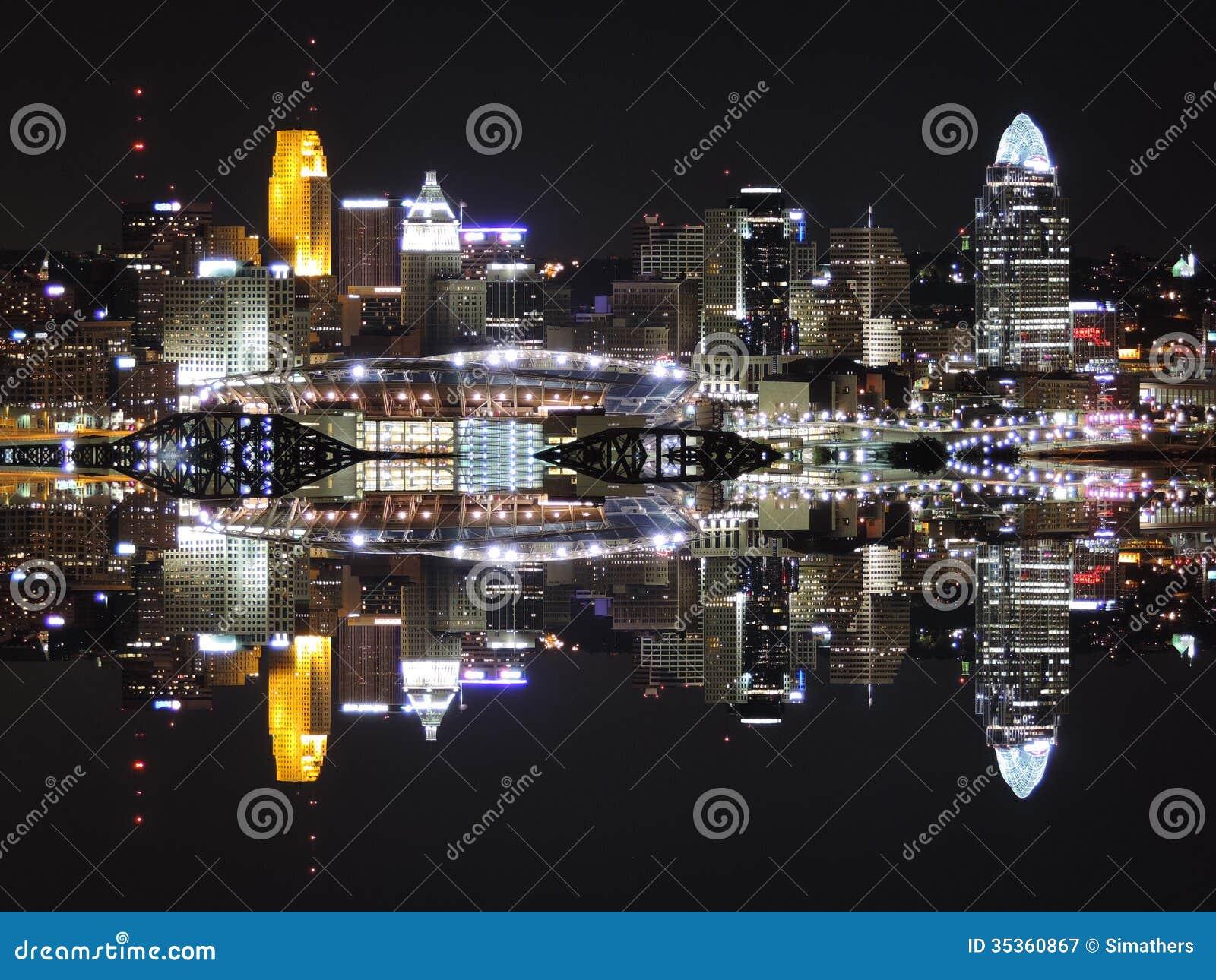 Reflexão da skyline de Cincinnati