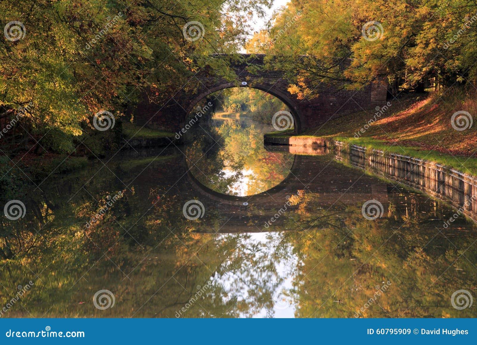 Reflexão de espelho de árvores da ponte e do outono Arched no canal grande da união