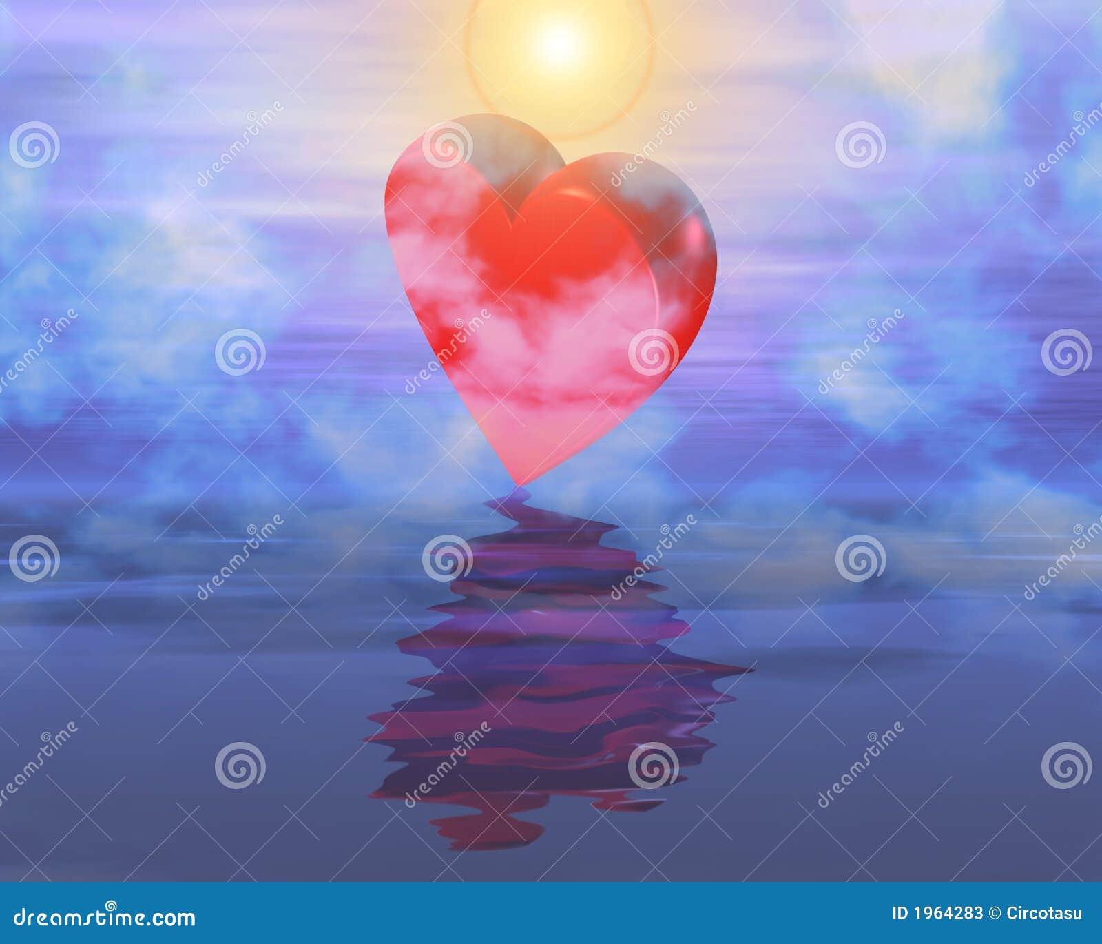 Reflexão do coração no céu nevoento do por do sol