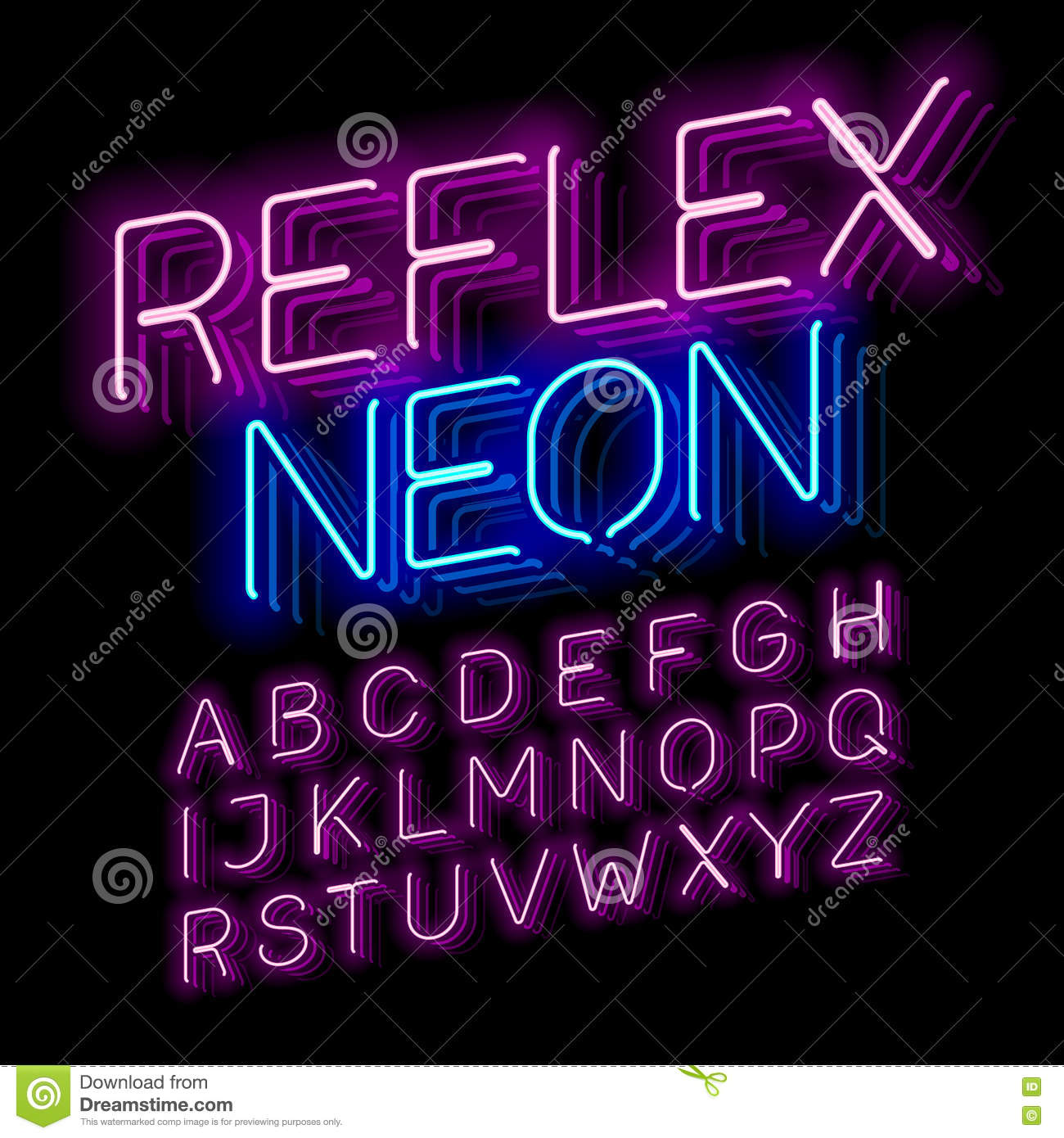 Retro Glass Neon Font Vector Illustration
