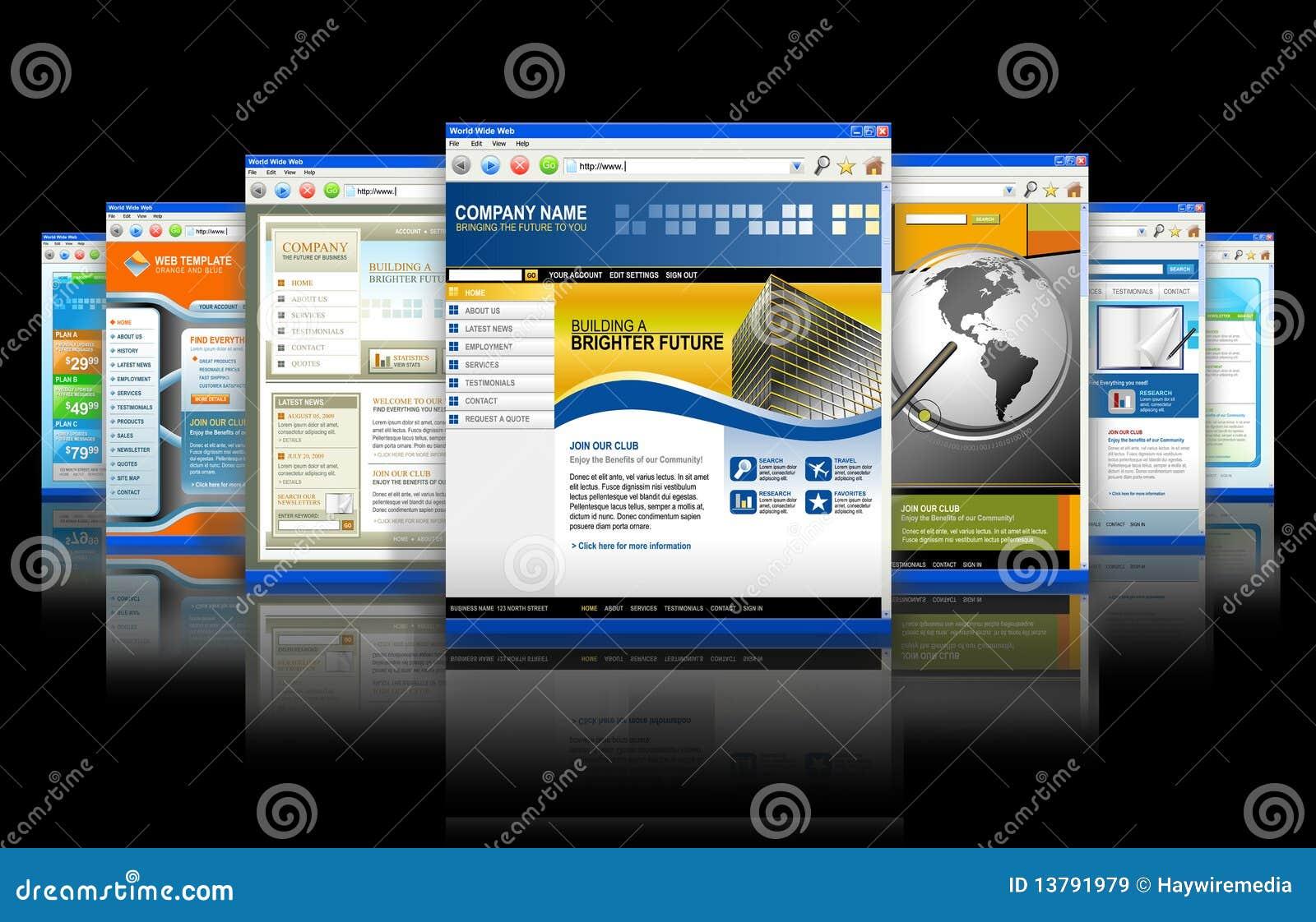 Reflexión de los Web site del Internet de la tecnología del Web
